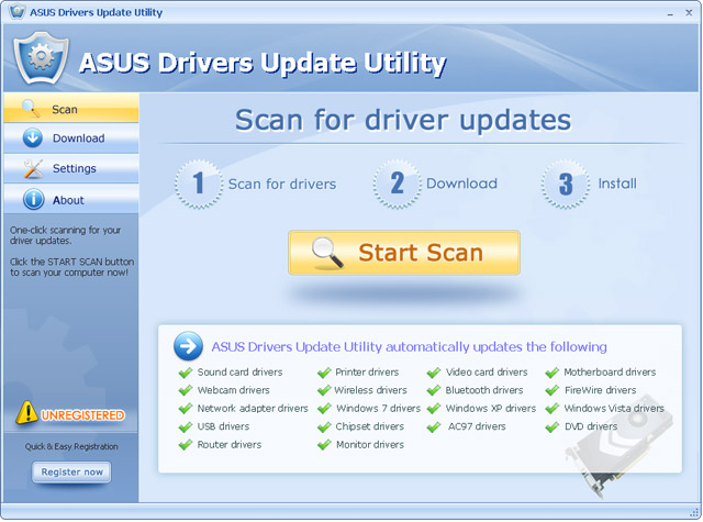ASUS Drivers Update Utility Screenshot