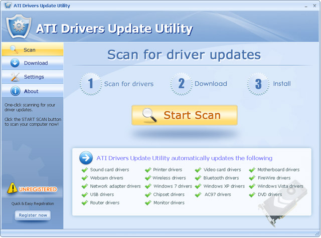 Update your ATI drivers automatically with several clicks.