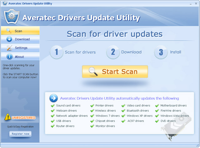 Averatec Drivers Update Utility Screenshot