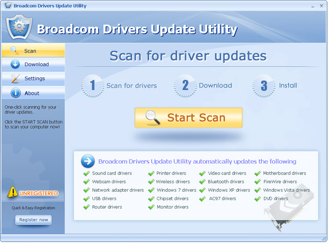 Click to view Broadcom Drivers Update Utility 6.5 screenshot