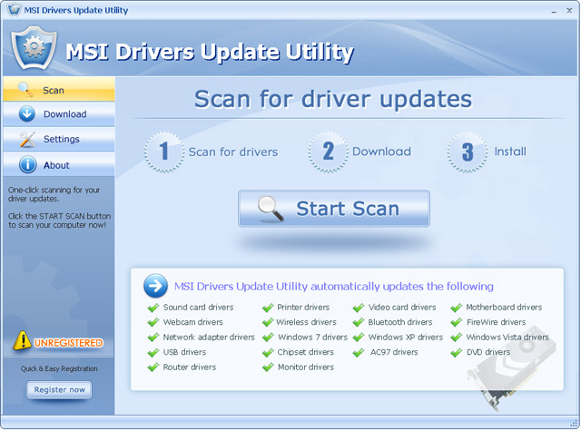 Click to view MSI Drivers Update Utility 6.5 screenshot